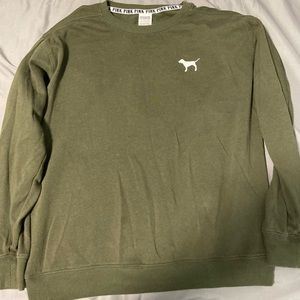 Olive green Pink sweatshirt